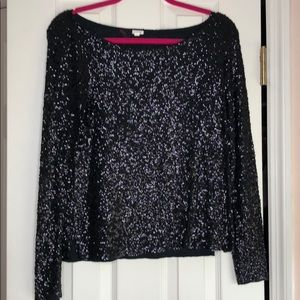 J. Crew black sequin blouse